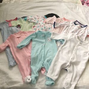 8 piece mixed brand of baby footed pajamas